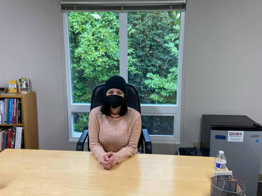 Lindsey Mutschler in her new office as she moved in her personal belongings.